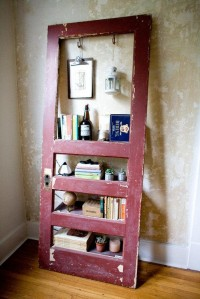 Vintage Door Repurposed Bookshelf Ruby is by TheDoorShelfFactory