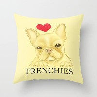 I Heart Frenchies Throw Pillow by Veronica Ventress | Society6