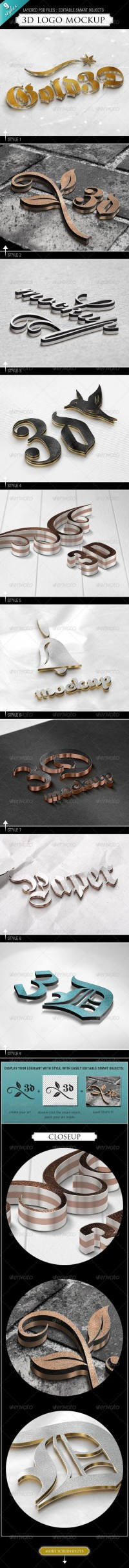 Graphics - 3D Logo Mockup - 9 Styles | GraphicRiver