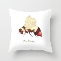 Bee Happy Throw Pillow by Catherine Holcombe | Society6