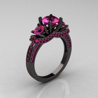 French 14K Black Gold Three Stone Pink Sapphire by artmasters