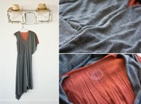 Asymmetrical Conte Dress Charcoal & Copper by WhiteWashStudio