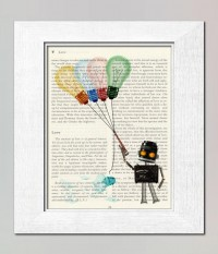 Kitsch art print Robot with bulb balloons kids wall by booknick