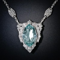 Art Deco Aquamarine and Diamond Necklace - 90-1-4270 - Lang Antiques
