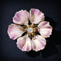 Antique Enameled Flower Pin - 50-1-2937 - Lang Antiques