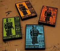 Retro Robot Quelstar Robot Art Blocks Set of Four by johnwgolden