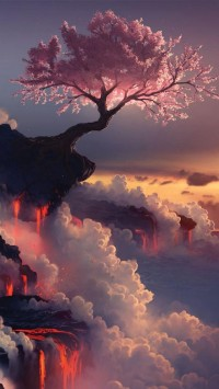 Fuji Volcano, Japan, Asia, Geography, Cherry Blossom, | iPhone wallpapers HD