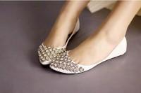 Sweet and Fashionable Style Rhinestone Embellished Pointed Head Design Flat Shoes For Female (WHITE,40) China Wholesale - Sammydress.com