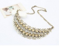 European and American Retro The Delicate Patterns Studs Exaggerated Bib Necklace - DualShine