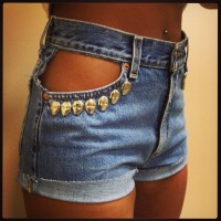 Sexy Peek-A-Boo Skull Pocket High-Waisted Shorts on Wanelo