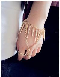 Bullets Tassel Style Bracelet With 2 Finger Rings - DualShine