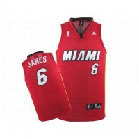 Miami Heat Lebron James #6 Red NBA Swingman Jersey White