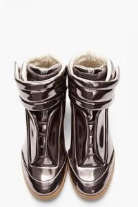Maison Martin Margiela Metallic Pewter Leather Padded Sneakers for men | SSENSE