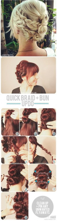 DIY Quick Braid and Bun Updo Hairstyle DIY Projects | UsefulDIY.com