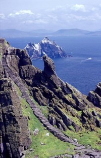 The stone stairway of Skellig Michael, Skellig Islands, Co Kerry, Ireland. Rights Managed Stock Image.