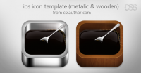 Beautiful ios Apple Icon Template Metalic and Wooden PSD - Freebie No: 10