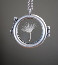 Round Dandelion Seed Necklace Dandelion by paperfacestudio on Etsy