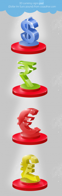 Beautiful Premium 3D Currency Signs PSD (Dollar, Inr, Euro, pound) for Free Download - Freebie No: 38