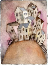 house on hill-watercolor by ~usartdude