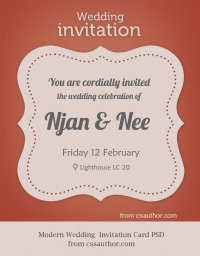 Modern Wedding Invitation Card PSD for Free Download - Freebie No: 59