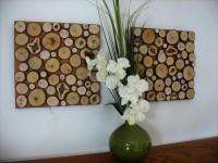 11x11 Set Rustic Wood Slice Wall Art Sculpture by ModernRusticArt