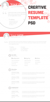 Free Creative Resume Template PSD - Freebie No: 67