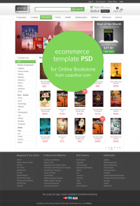 E-commerce Template PSD for Online Bookstore - Freebie No: 68 - CSS Author is a Design and Development related blog