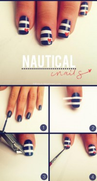 DIY Nautical Nail Design Do It Yourself Fashion Tips | DIY Fashion Projects