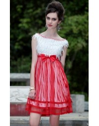 Beading Lace Bow Beading Chiffon A-line Semi Formal Cocktail Dress [PCBE0761]- £ 115.55 - persunwedding.co.uk
