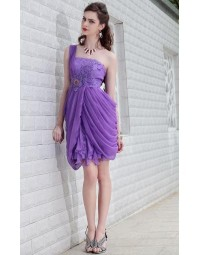 Applique Ruched One Shoulder Chiffon Sheath Cocktail Dress [PCBE0770]- £ 110.02 - persunwedding.co.uk