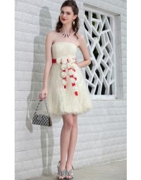 Flower Ruched Strapless A-line Short Tulle Cocktail / Homecoming Dress [PCBE0880]- £ 115.54 - persunwedding.co.uk