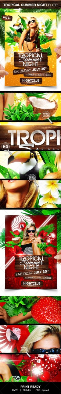 Print Templates - Tropical Summer Night | GraphicRiver