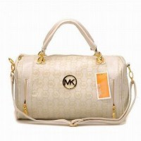 Michael Kors Leather Satchel Beige Women Bags