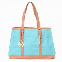 Michael Kors Amangasett Large Straw Tote Blue Women Bags
