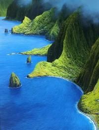 Molokai, Mist Over the Mountains, Hawaii... | PicsVisit