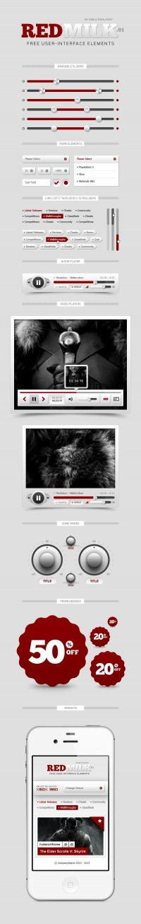 REDMilk UI Elements (PSD) - Designer First