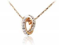 Double Crystal Ring Pendant Necklace
