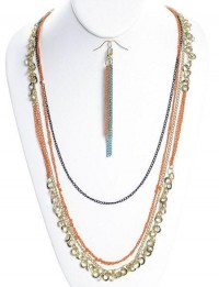 Dangle Chain Necklace Coral