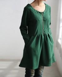 fall pleated knee length Inside velvet Warm Coat by MaLieb on Etsy