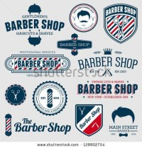 Set Of Vintage Barber Shop Logo Graphics And Icons Stock Vector 128802754 : Shutterstock