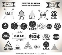 Set Of Hipster Vintage Retro Labels, Stamps, Signs, Marks And Calligraphy, Text And Stickers Stock Vector 127133612 : Shutterstock