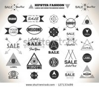 Set Of Hipster Vintage Retro Labels, Stamps, Signs, Marks And Calligraphy, Text And Stickers Stock Vector 127133489 : Shutterstock