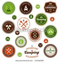Set Of Retro Camping And Outdoor Adventure Badges And Labels Stock Photo 103192580 : Shutterstock