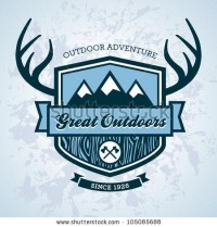 Wood Themed Outdoors Emblem With Mountains And Antlers Stock Vector 105085688 : Shutterstock
