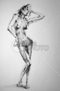 Drawing Standing Female Full Body Pose - Drawing Classical Art - 54ka StockPhoto