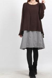 layered long dress brown by MaLieb on Etsy