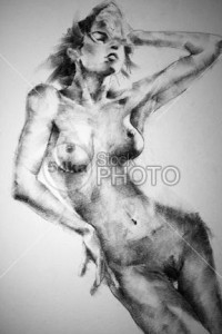 Drawing Female Close-up Full Body Pose - Drawing Classical Art - 54ka StockPhoto
