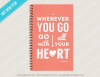 Go With All Your Heart 55 x 85 journal dream by vbtypography