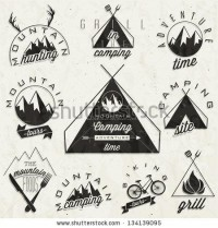 Retro Vintage Style Symbols For Mountain Expedition: Adventure, Mountain Camping, Mountain Hunting, Mountain Tour, Mountain Foods, Camping Site, Camping Grill, Biking Tours. Mountain Feeling. Vector. - 134139095 : Shutterstock