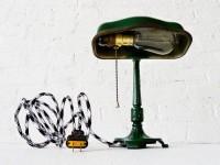 Fancy - Vintage Cast Iron Green Industrial Desk Lamp w/ by EarthSeaWarrior